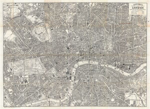 Gifford's Flexible Pocket Map of London, Divided into Half Mile Squares & Circles.