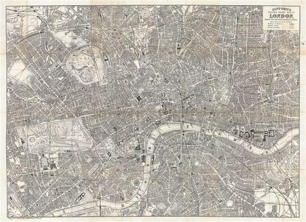 Gifford's Flexible Pocket Map of London, Divided into Half Mile Squares & Circles. - Main View