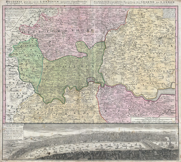 1741 Homann View and Map of London, England and Environs