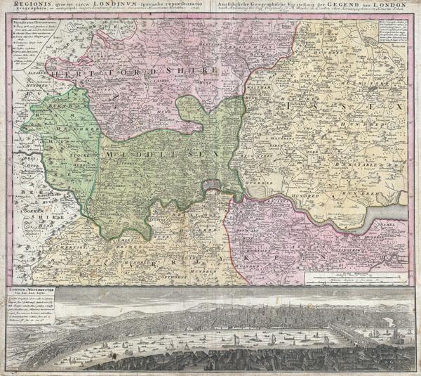 Regionis quae est circa Londinum, specialis representatio geographica, ex autographo majori Londinensi desumta, curantibus HOMANIANIS Heredibus, 1741.