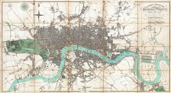 London in Miniature, with the Surrounding Villages Entire New Plan in which the Improvements both present and intended are actually reduced (by permission) from the surveys of the Several Proprietors.