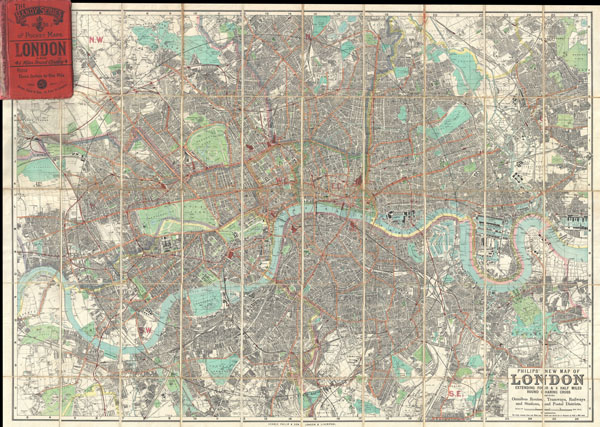Philips' New Map of London Extending Four & a Half Miles Round Charing Cross.