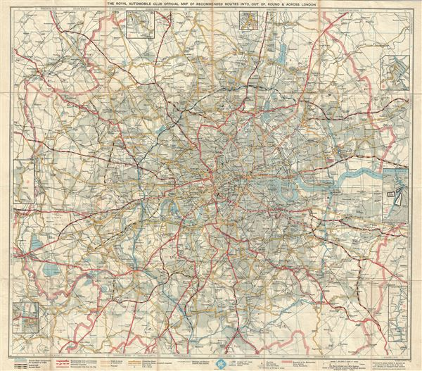 The Royal Automobile Club Official Map of Recommended Routes Into, Out of, Round and Across London.