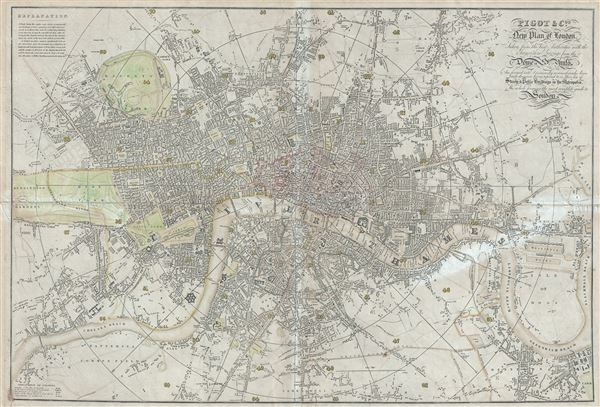 Pigot and Co's New Plan of London, Taken from the best Authorities with the Geographical bearings from the Dome of St. Paul's And formed into Divisions by means of circular lines each division being referred to in their list of Streets and Public Buildings in the Metropolis, The whole forming the most complete guide to London and ITS VICINITY YET PUBLISHED. - Main View
