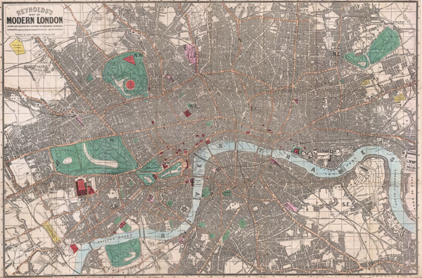 Reynolds's Map of Modern London Divided into Quarter-Mile Sections for Measuring Distances.