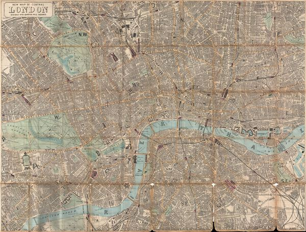 New Map of Central London Divided into Quarter Mile Squares. (Waistcoat-Pocket Map of London) - Main View