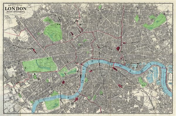 Map Of London England And Surrounding Area.Reynolds Map Of London With The Recent Improvements Geographicus