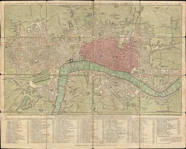 The London Directory or a New & Improved Plan of London, Westminster & Southwark; with the adjacent Country, the New Buildings, the New Roads and the late alterations by Opening of New Streets, & Widening of others 1790.