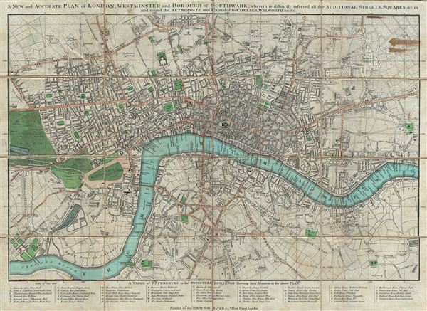 A New and Accurate Plan of London, Westminster and Borough of Southwark; Wherein is Distinctly Inserted All the Additional Streets, Squares and c in and Round the Metropolis and Extended to Chelsea, Walworth …