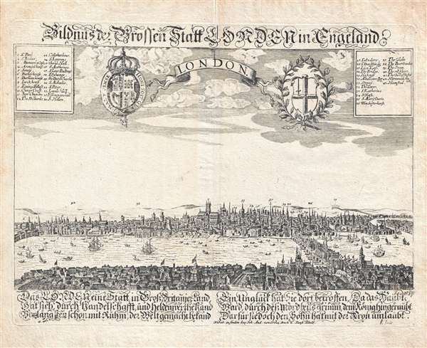 1650 Schnitzer View Map of London, England (pre-Fire)