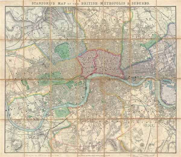 London And Suburbs Map.Stanford S Map Of The British Metropolis Suburbs