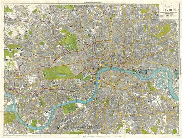 Bacon's New Map of London, Divided into Half Mile Squares & Circles from Charing Cross.