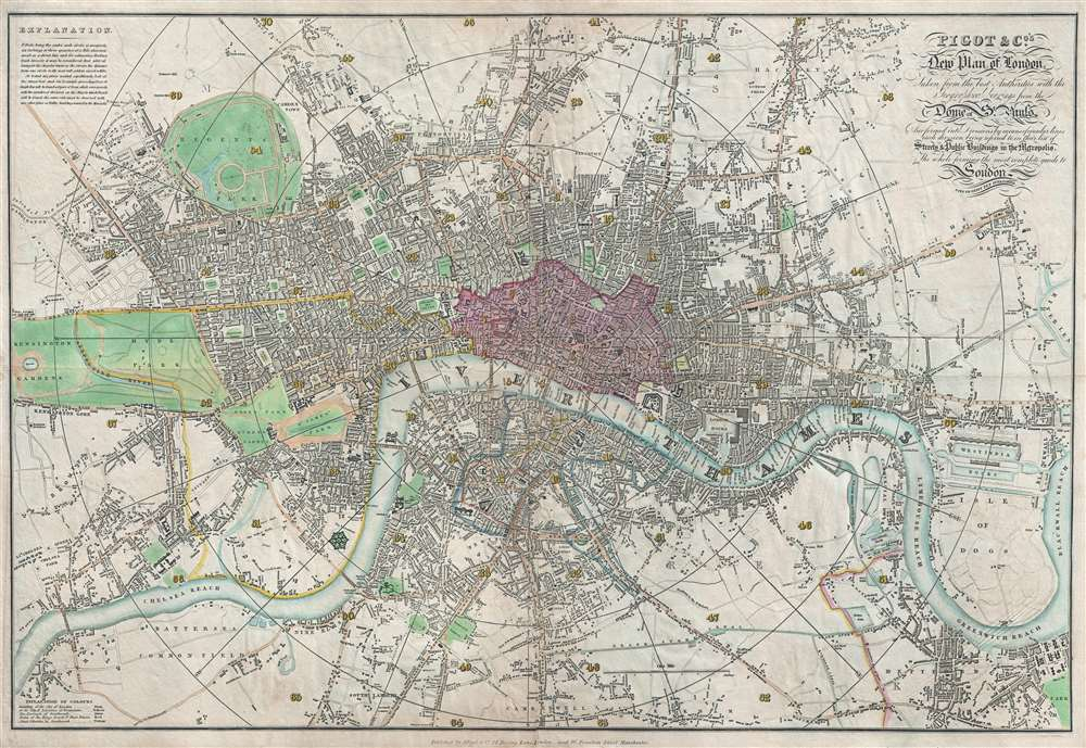 Pigot and Co's New Plan of London, Taken from the best Authorities with the Geographical bearings from the Dome of St. Paul's And formed into Divisions by means of circular lines each division being referred to in their list of Streets and Public Buildings in the Metropolis, The whole forming the most complete guide to London and ITS VICINITY YET PUBLISHED.