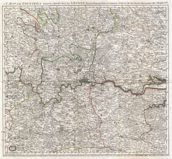 A Map of the Countries Thirty Miles Round London. - Main View