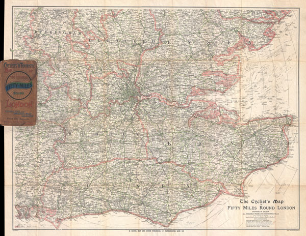 The Cyclist's Map of Fifty Miles Round London showing in color all rideable roads and dangerous hills.
