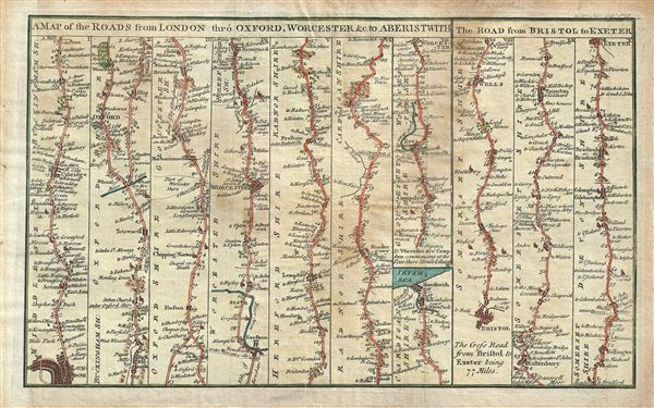 A Map of the Roads from London thro Oxford, Worchester &c. to Aberistwith.  The Road from Bristol to Exeter. - Main View