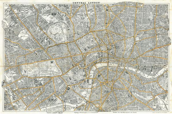 Bacon's New Map of Central London, Divided into Half Miles Squares & Circles.