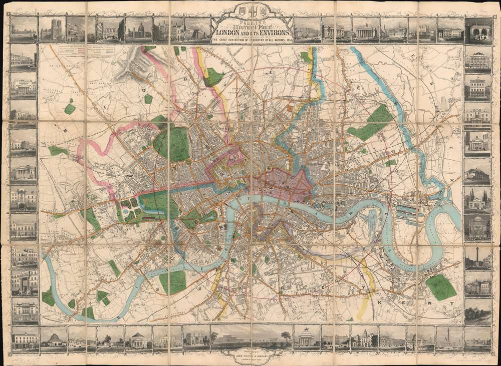Tallis's Illustrated Plan of London and its Environs in commemoration of the Great Exhibition of Industry of all Nations, 1851. - Main View