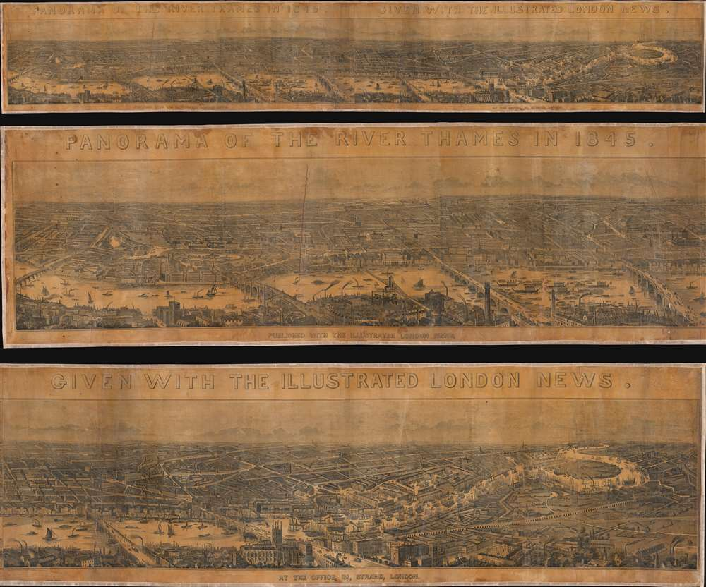Panorama of the River Thames in 1845. Given with the Illustrated London News. - Main View