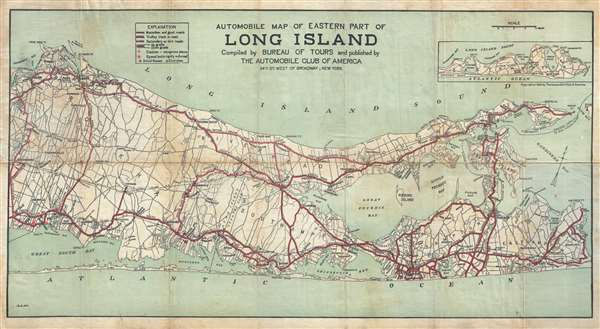 Long Island Bureau.Automobile Map Of Eastern Part Of Long Island Compiled By