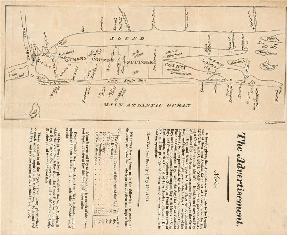 The Advertisement. Notice is hereby given, that Application will be made to the Legislature next Session, for an Act of Incorporation for the Long-Island Canal Company… - Main View