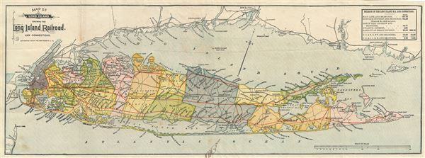 Map of Long Island showing the Long Island Railroad and Connections.