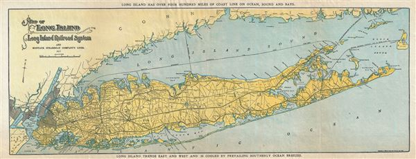 Map of Long Island showing the Long Island Railroad System and Montauk Steamboat Company Lines.