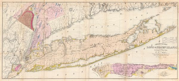 Geological Map of Long & Staten Islands with the Environs of New York.