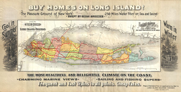 Map of Long Island showing the Long Island Railroad.