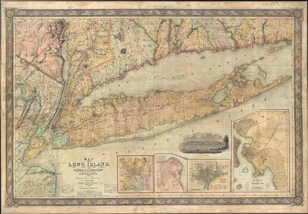 Map of Long Island, with the Environs of New-York and the Southern Part of Connecticut, compiled from Various Surveys and Documents.