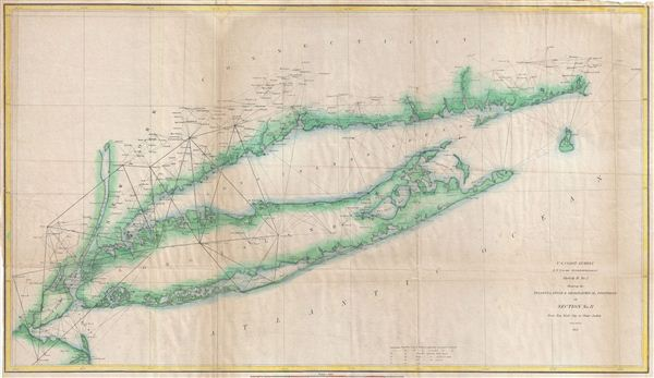 Sketch B. No. 2 Showing the Triangulation & Geographical Positions in Section No. II From New York City to Point Judith.