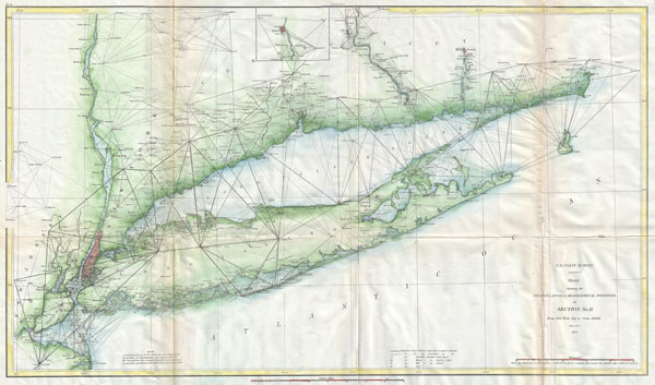 Sketch Showing the Triangulation & Geographical Positions in Section No. II From New York City to Point Judith.