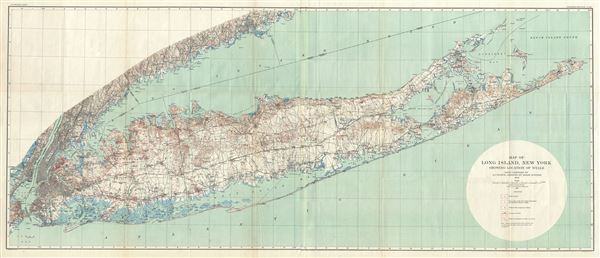 Map of Long Island, New York showing Locations of Wells. - Main View
