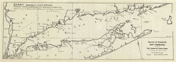 Chart Showing the Light Stations Through Long Island Sound from Block Island to New York. - Main View