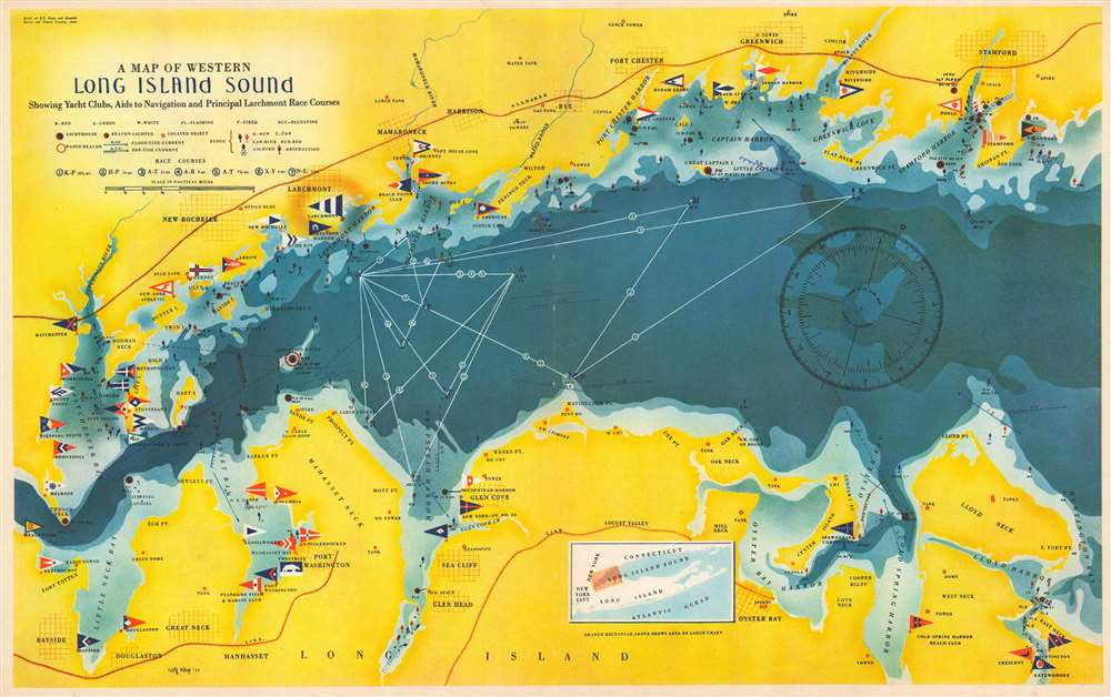 A Map of Western Long Island Sound: Showing Yacht Clubs, Aids to Navigation and Principal Larchmont Race Courses. - Main View