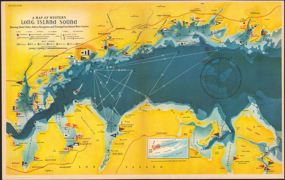 1939 Map of the Western Part of Long Island Sound by Rolf Klep