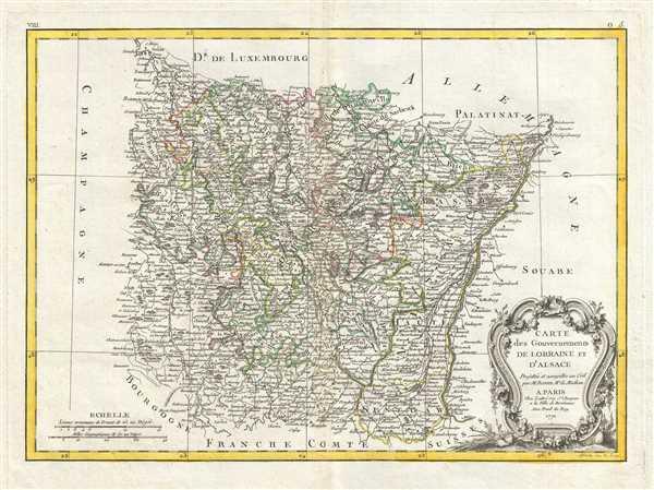 Carte des Gouvernements de Lorraine et D'Alsace.
