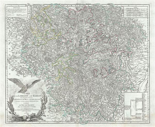 Carte de la Lorraine et du Barrois dans laquelle se trouvent la Generalite de Metz et autres enclaves; Dressee pour la lecture du Memoire de M. Durival l'aine, et dediee au Roy de Pologne, Duc de Lorraine et de Bar.