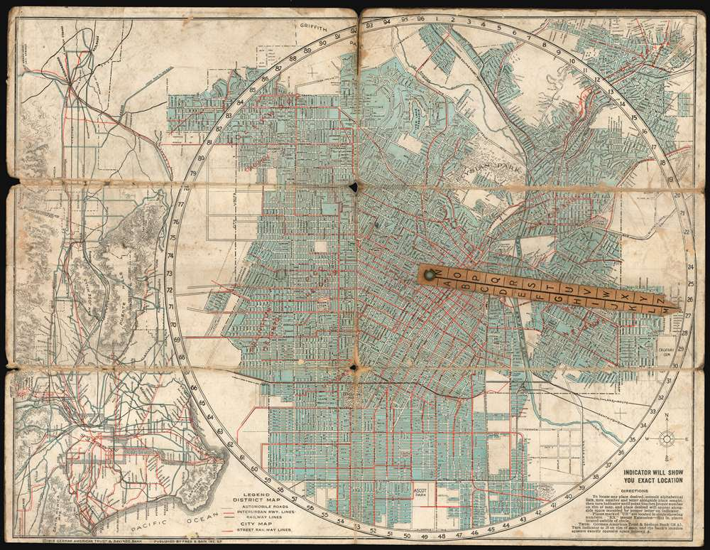 1915 Bain map of Los Angeles and Vicinity