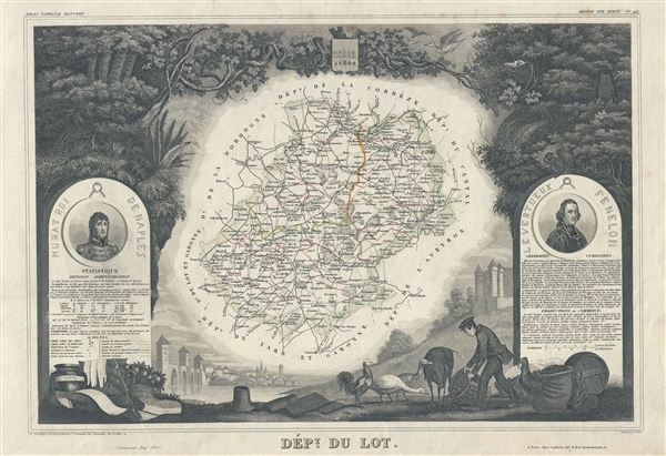 1847 Levasseur Map of the Dept. Du Lot, France