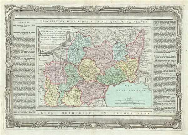 Carte des Departemens du Lot, de l'Aveiron, de la Lozere, de l'Ardeche, du Gers, de la H.te Garonne, du Tarn, de l'Herault, du Gard, des H.tes Pyrenees, de l'Arriege et de l'Aude.