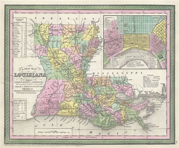 A New Map of Louisiana with its Canals, Roads and Distances from place to place, along the Stage and Steam Boat Routes.