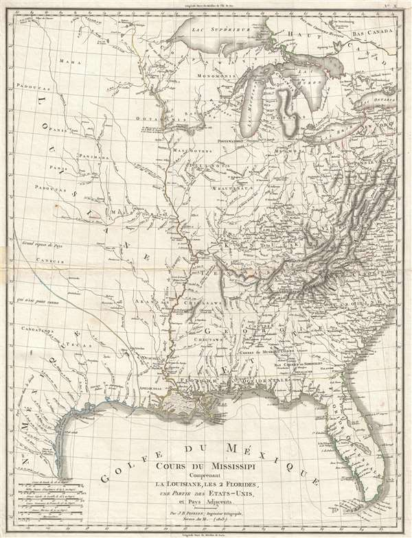 1803 Poirson Map of the Mississippi River Valley (French Louisiana)