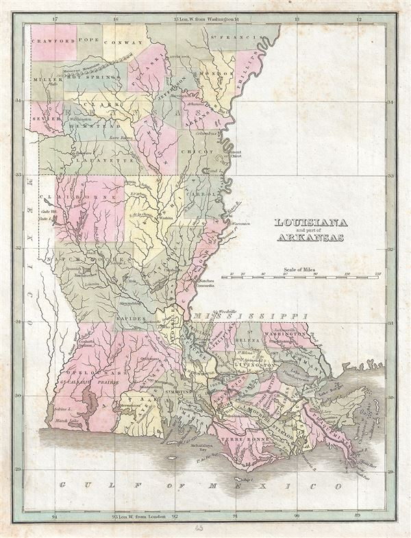 Louisiana and part of Arkansas.: Geographicus Rare Antique Maps
