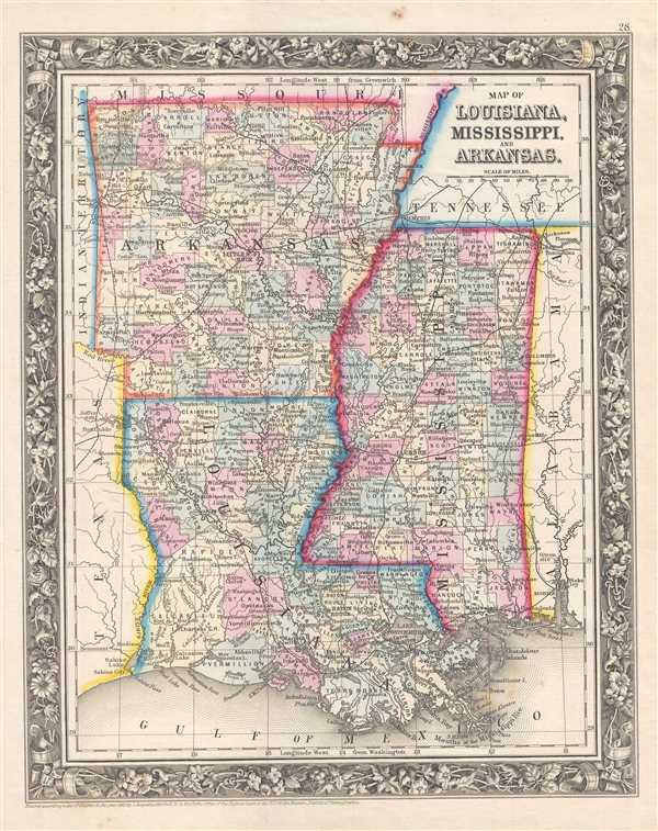 Map of Louisiana, Mississippi, and Arkansas. - Main View