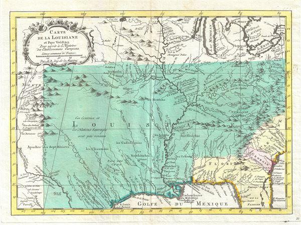 Carte de la Louisiane et Pays Voisins Pour servir a l'Histoire des Etablissemens Europeens.