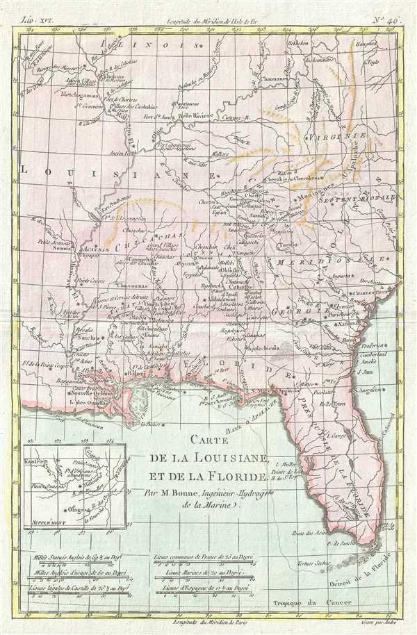 Carte de la Louisiane et de la Floride.