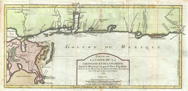 Partie de La Coste de la Louisiane et de La Floride depuis le Mississipi Jusqua St. Marc d'Apalache. Dressee sur les Manuscrits du Depost des Plans de la Marine.