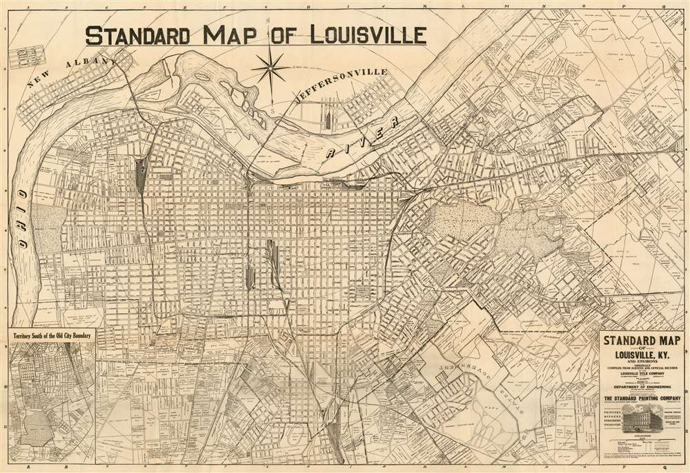 1921 William Bridges Hunter Map of Louisville, Kentucky