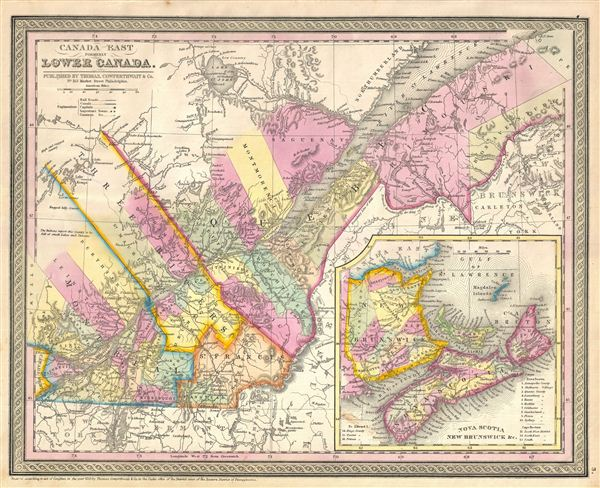 Map Of Canada East.Canada East Formerly Lower Canada Geographicus Rare Antique Maps